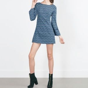 Zara Trafaluc Mini Retro Mod Dress Bell Sleeves